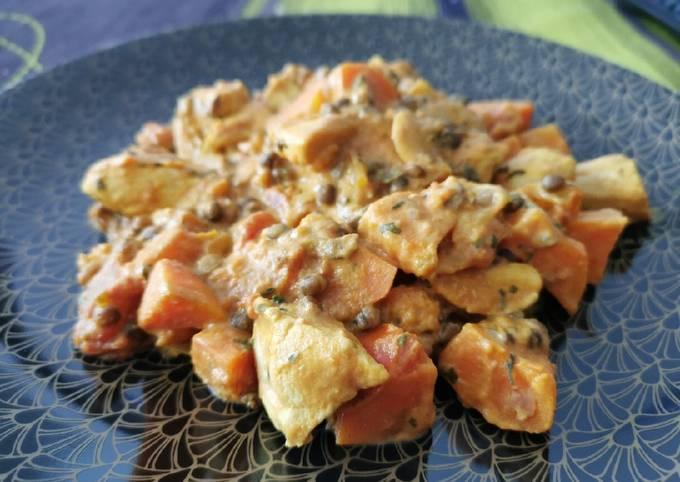 Dahl de lentilles, patates douces, poulet