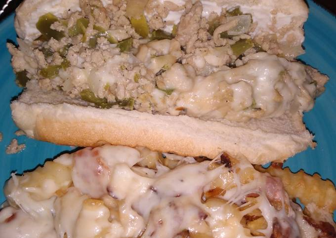 Chicken steak and cheese subs