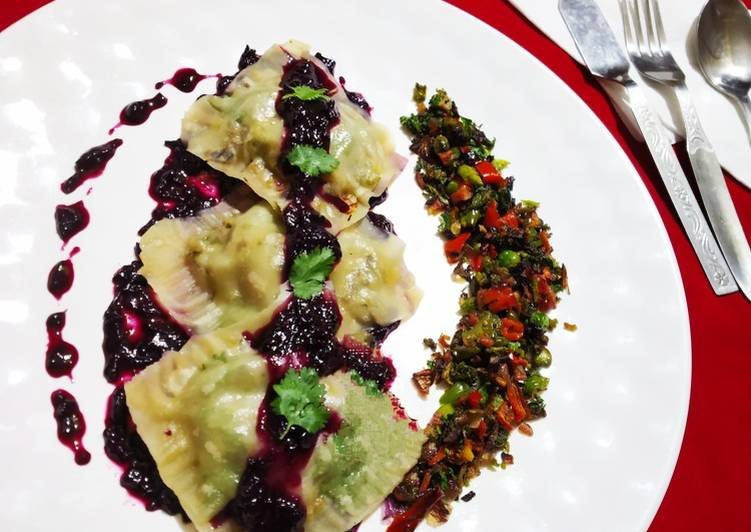 Ravioli With Purple Sauces