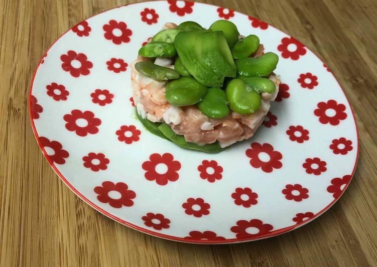 Recette Savoureux Tartare fève saumon crevette avocat