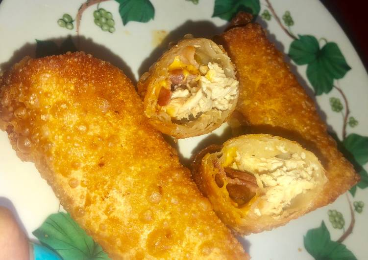 Chicken bacon cheddar ranch egg rolls