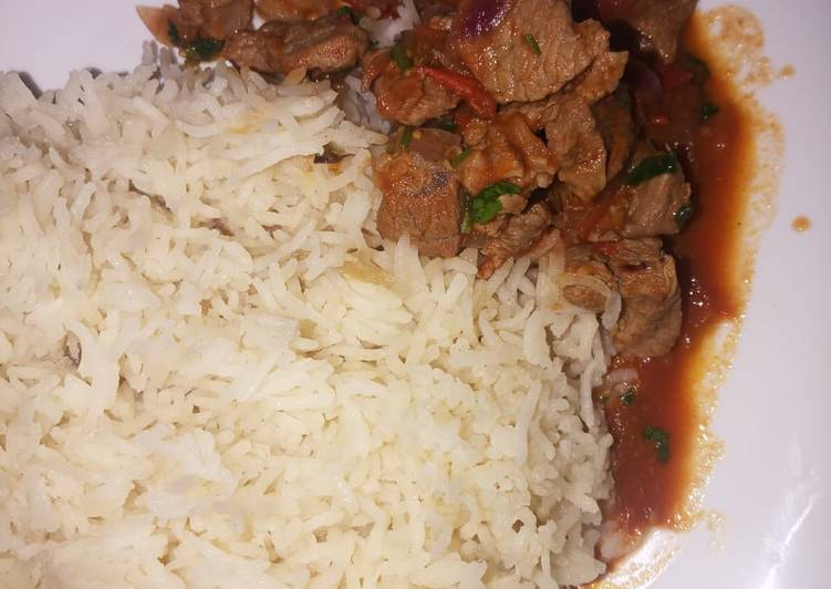 Simple Way to Make Favorite Rice served with mbuzi