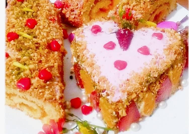 Les Meilleures Recettes de Roulé aux bonbons et un kake a la crème aux fruit