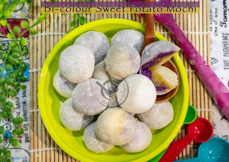 Recipe: Perfect Bi-colour Sweet Potato Mochi