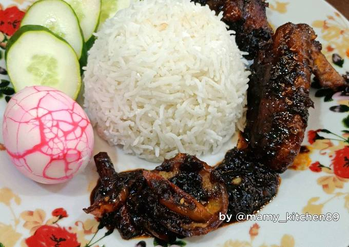 Resep �💗Nasi Lemak Ayam Masak Hitam yang Enak