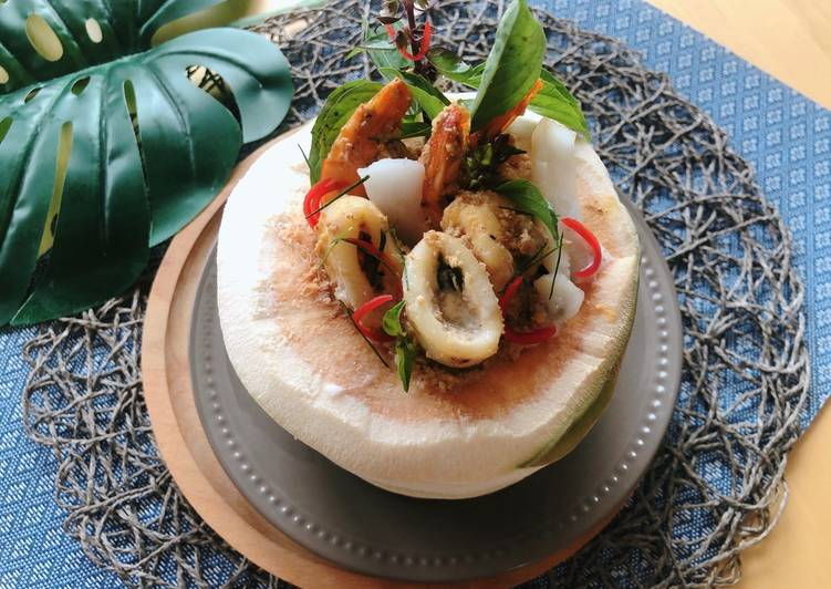 Easiest Way to Make Perfect Thai Steamed Seafood Curry in Coconut #How Mok # Thai Red Curry Paste