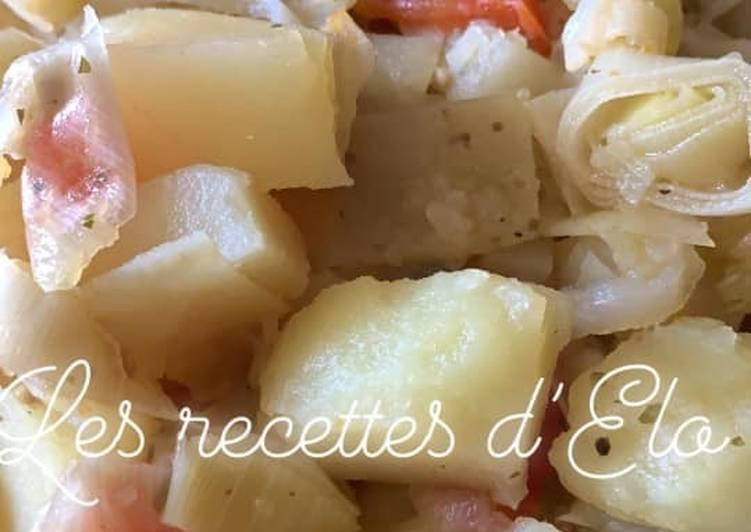recette Poêlée poireaux / pomme de terre au Cookeo délicieux