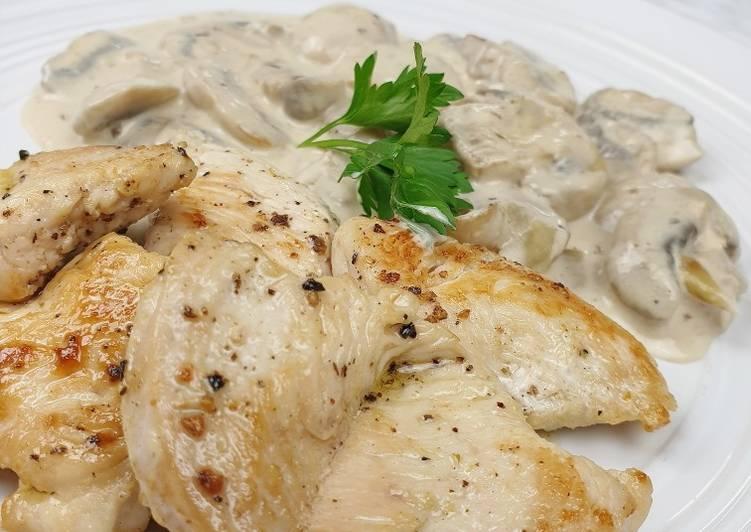Poulet et sa sauce aux champignons