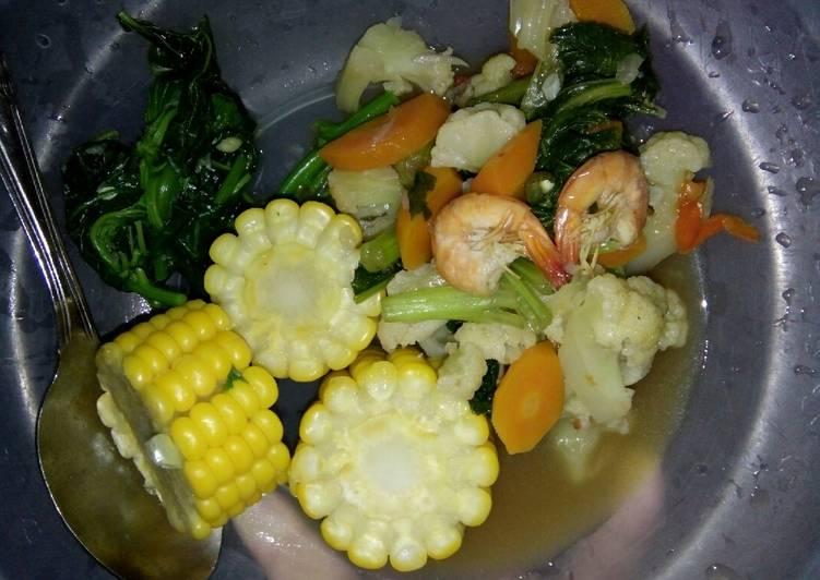 Resep Menu diet *2 sayur saos tiram, bayam dan jagung ...