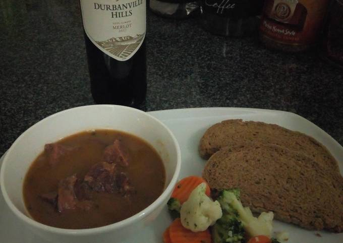 Recipe: Tasty Dad's Ox Tongue, Steamed Veggies and Rye Bread