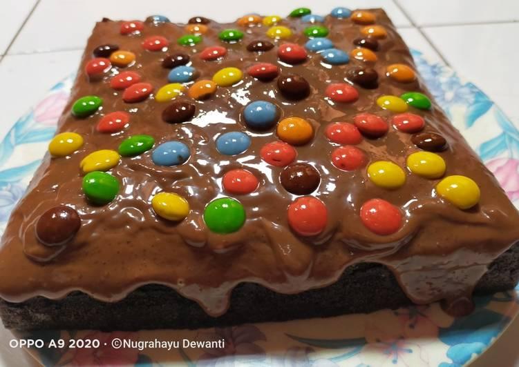 Cake Coklat Kukus Siram Ganache Coklat Kacang