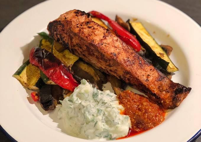 Tandoori salmon with curried roast vegetables and raita