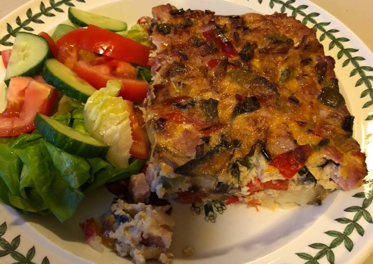 Recipe of Top-Rated Ham, Shallot & Mushroom Frittata