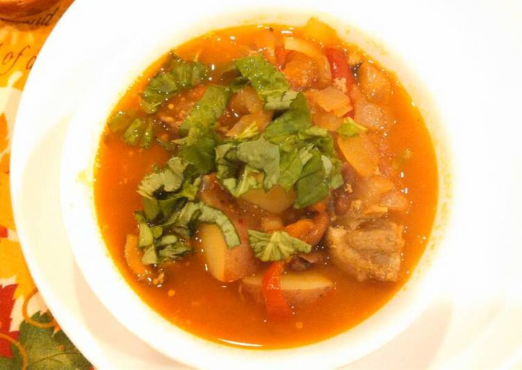 Pork rib Chili Soup 猪排番茄北白豆汤#whole food##meal soup#