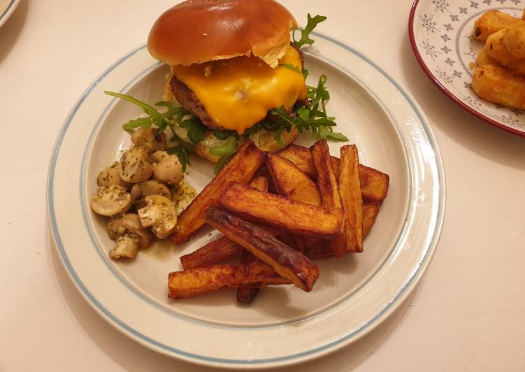 Burger with triple cooked chips