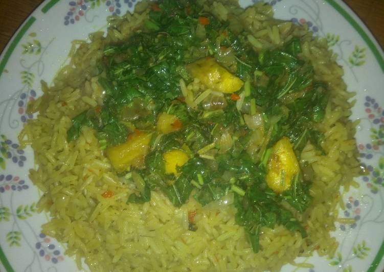 Recipe of Top-Rated Curry rice and plantain veggie sauce