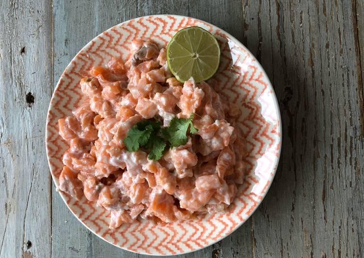 Tartare de saumon au lait de coco