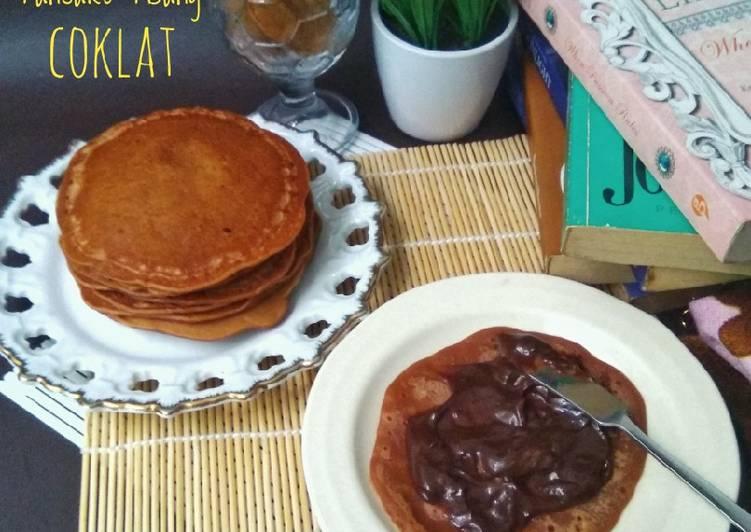 Pancake Pisang Coklat Eggless