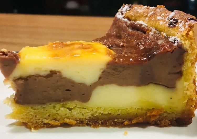 Flan pâtissier bicolore, vanille chocolat