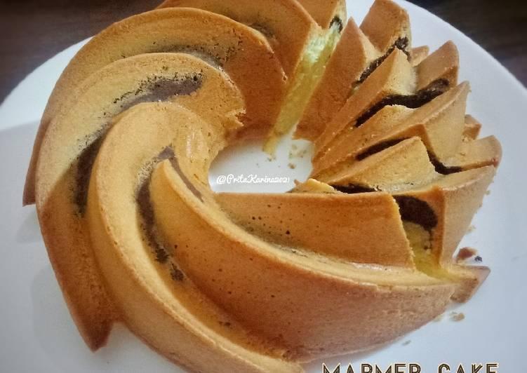 Marmer Cake Simple Pak Sahak (metode all in one)