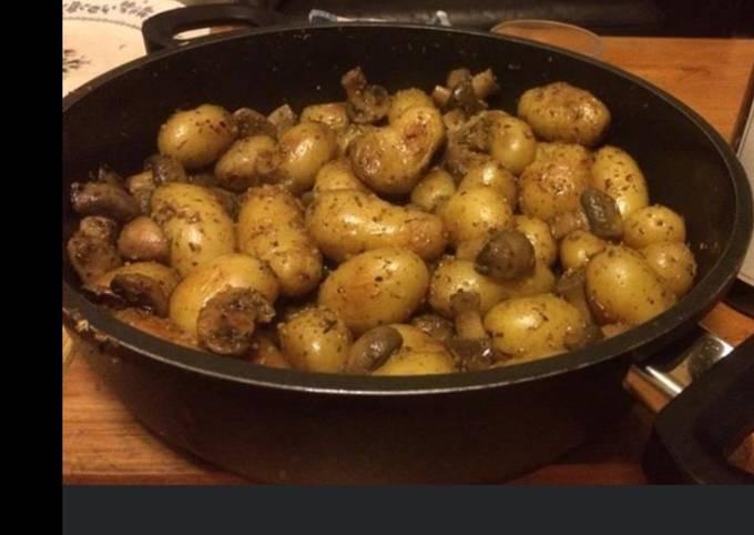Pommes de terre grenaille aux champignons et herbes de Provence
