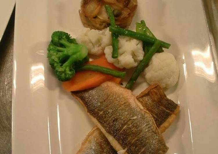 Pan fried sea bass with seasonal vegetables potote Boulanger's