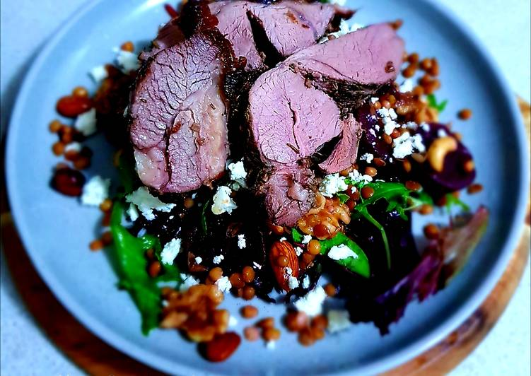 How to Make Yummy Beetroot, Lentil & Nuts Salad with Lamb