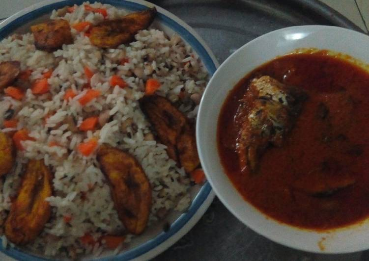 Rice,beans, plantain and fish stew