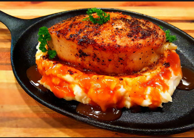 Mike's Thick Cut Top Loin Pork Chops Over Mashed Potatoes