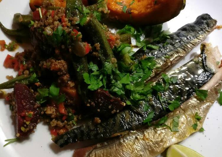 Absolutely Ultimate Dinner Easy Super Quick Homemade Zingy roasted okra and beets with smoked mackerel