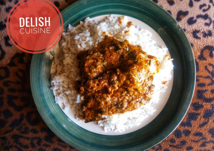 White rice and banga stew