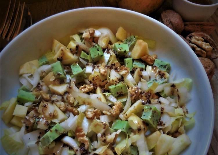 Recette Délicieux Salade d'endive, pomme, noix et gouda au pesto vert