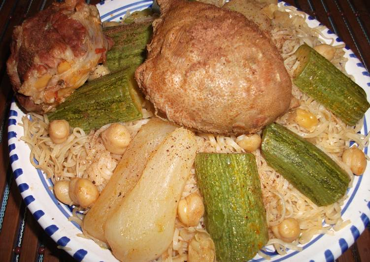 Recettes Rachta au poulet (sauce blanche),cuisine algérienne