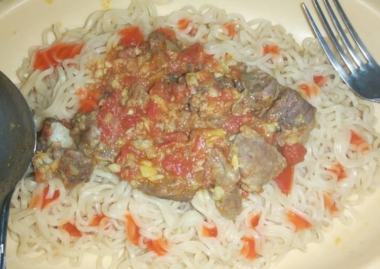 Indomie noodles and beef stew