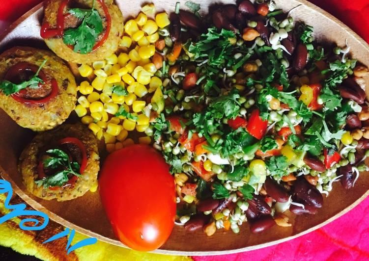 Vegan Rajma potato cutlet with mix vegetables salad
