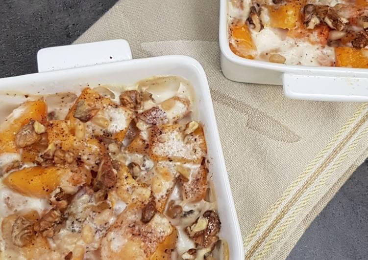 Comment faire Faire Délicieuse °gratin de butternut, muscade et noix°