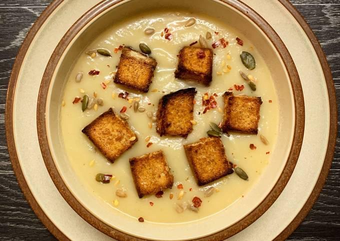 Celeriac Soup with Truffle Croutons