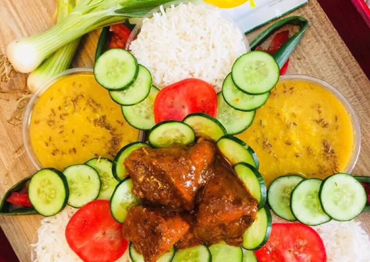 Recipe of Perfect Moong Masoor Daal Boiled Rice Chicken Roast