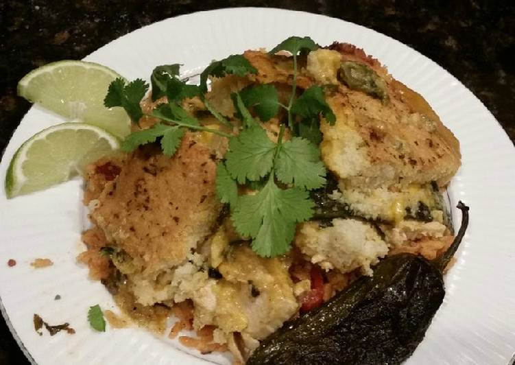 Brad's Chicken Verde casserole over Spanish rice