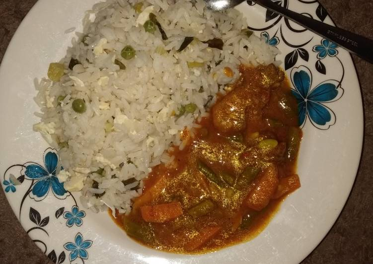 Scotch rice with chicken curry