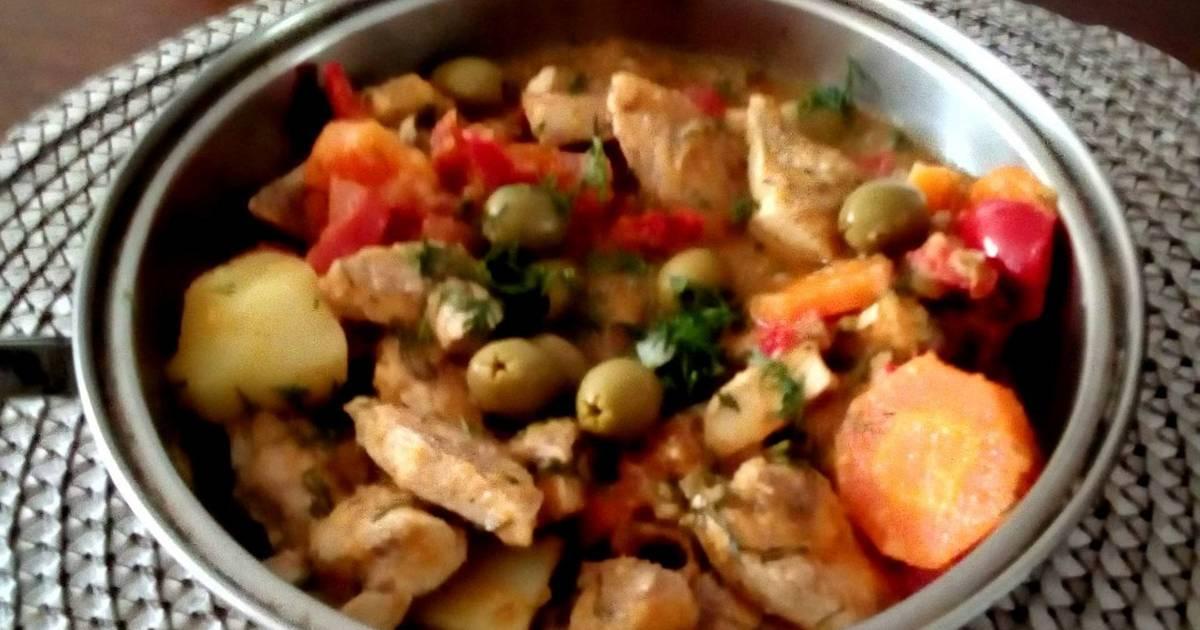 Estofado De Pechuga De Pollo Con Aceitunas Receta De Cony Serrano Cookpad