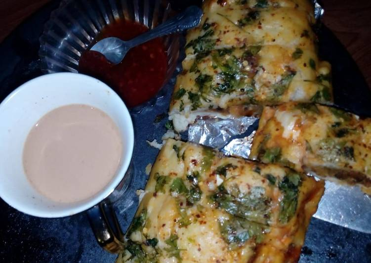 Pizza bread with shami kabab