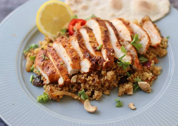 Recipe: Tasty Harissa chicken with couscous and flatbread