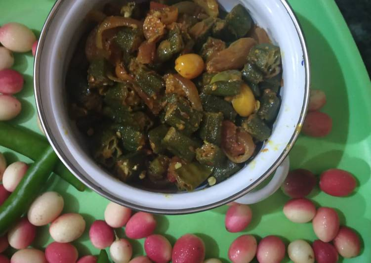 Easiest Way to Prepare Favorite Lady finger with onion and karonde(karissa carandas)