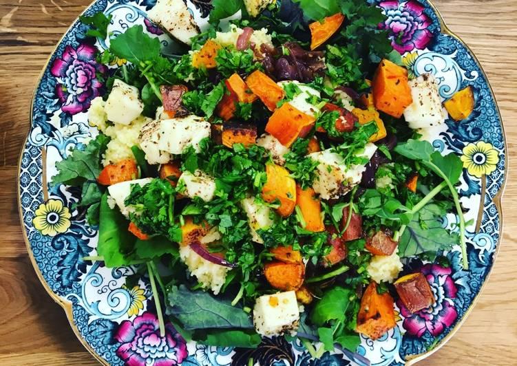 Za'atar spiced halloumi salad