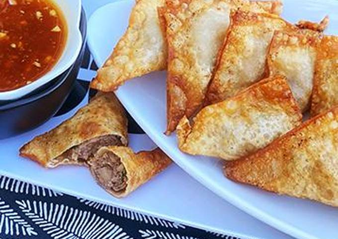 Fried Wagyu Beef Wontons with Duck Sauce