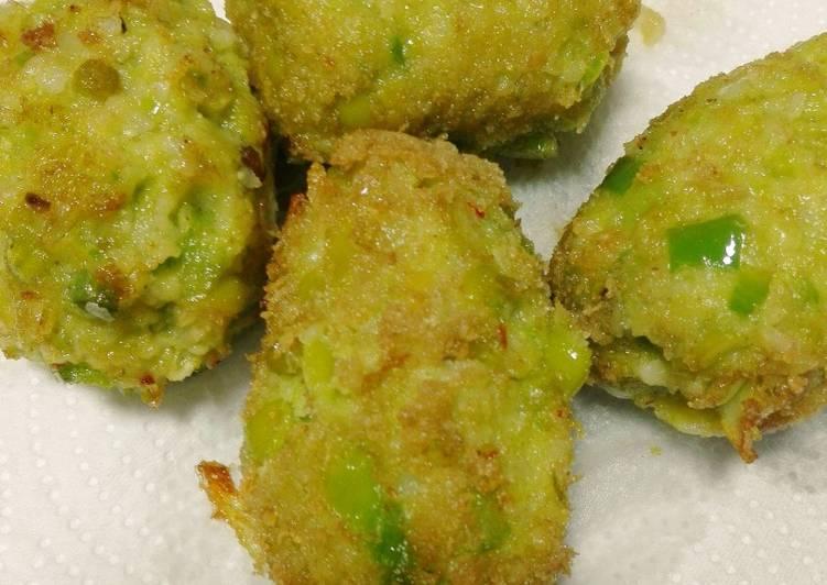 Foto principal de Croquetas de arvejas partidas con queso fresco Sin Huevos