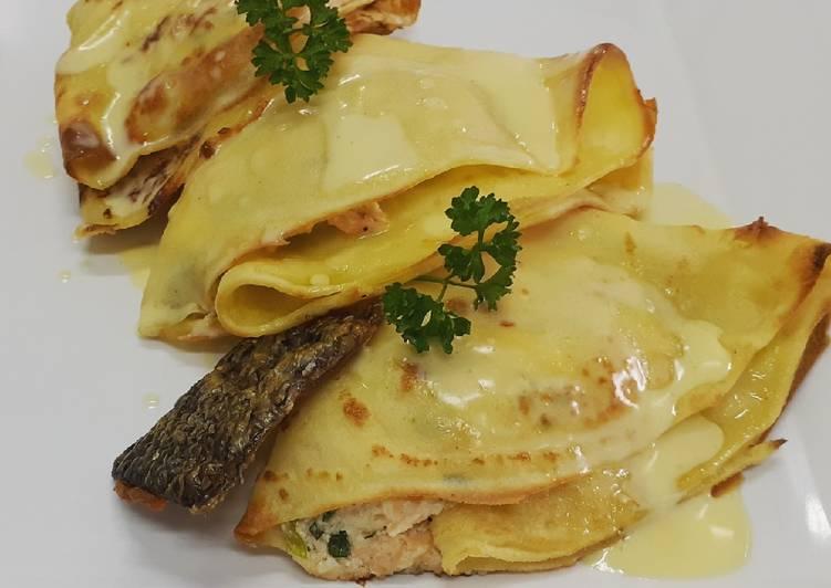 Crepes de salmón y salsa de jengibre😍