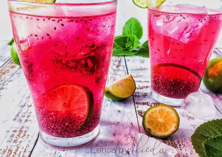Air soda sirap limau selasih - resepipouler.com
