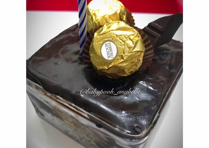 Chocolate Steam Cake with Chocolate Ganache (Kue Tart Cokelat Simple dan Mudah, No Mixer)